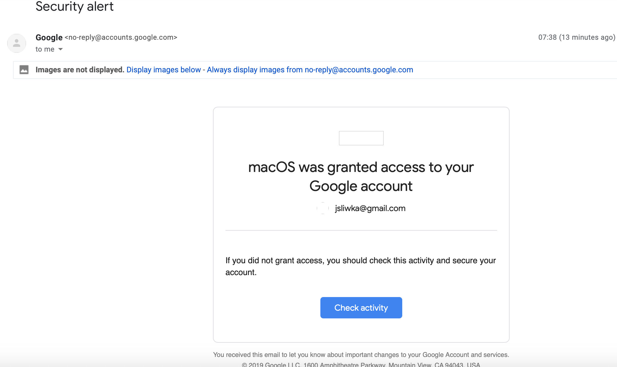MacOS granted access to my google account - Gmail Help