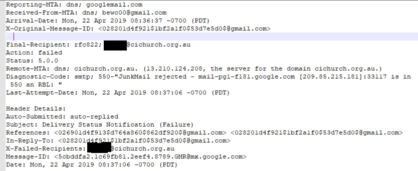 My Gmail message was rejected by the receiving server - Gmail Help