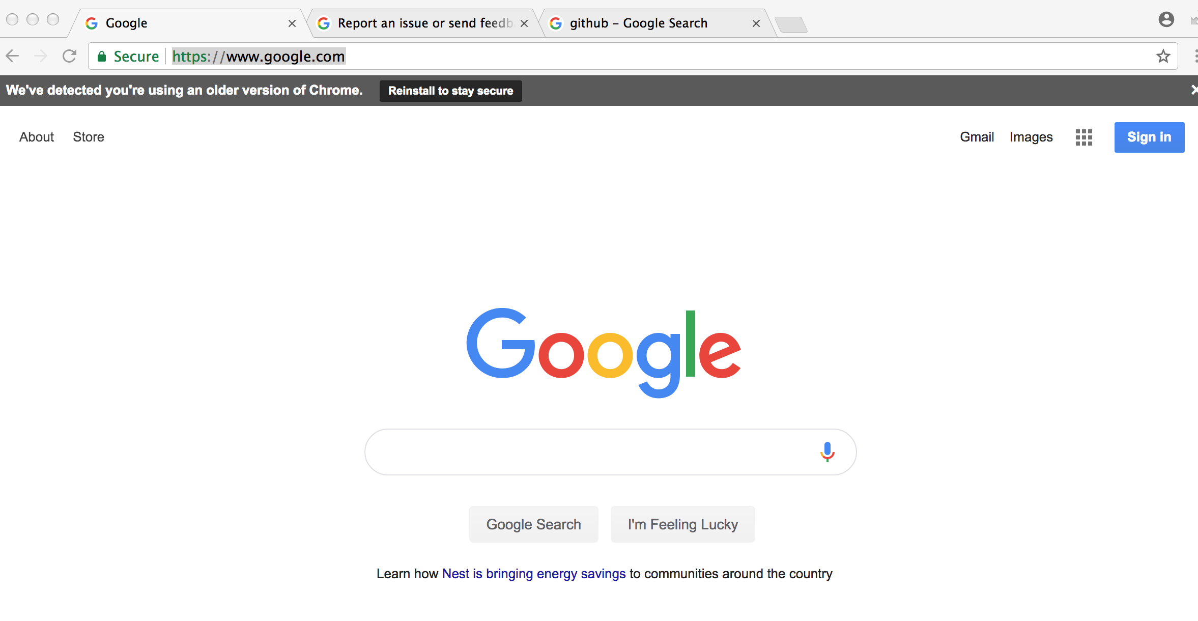 Im Getting A Suspicious Outdated Version Of Chrome Gray Bar At