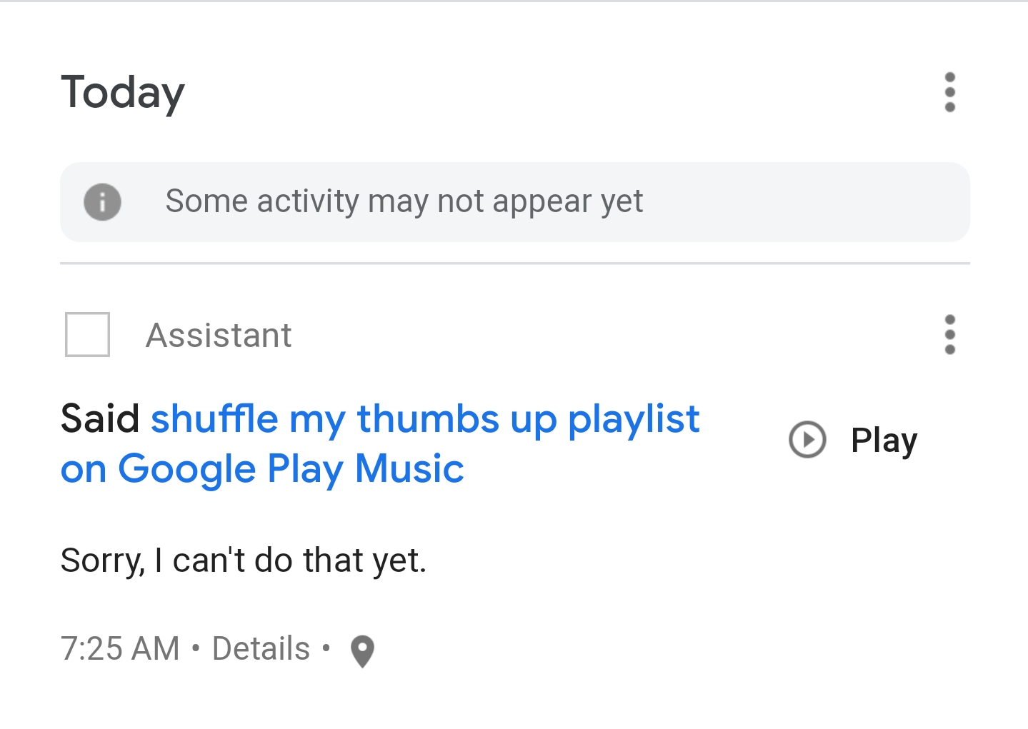 Shuffle no longer works for Google play music on Google home, works
