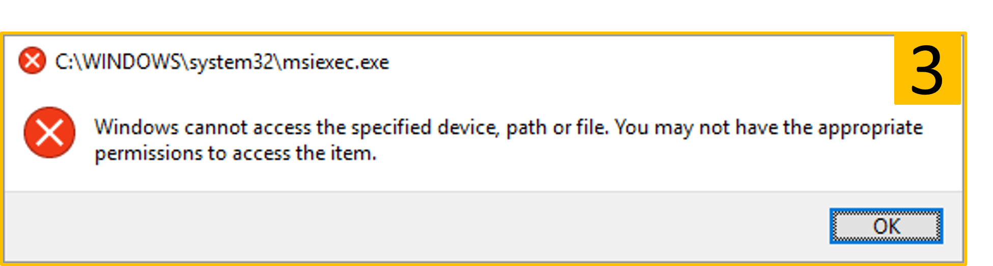 msiexec.exe windows cannot access