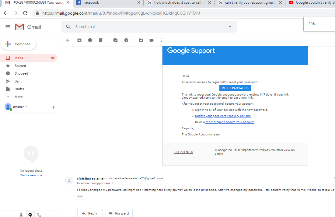 cant reset my gmail password