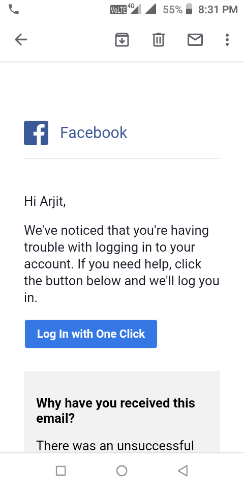 Email with click one login facebook One Click