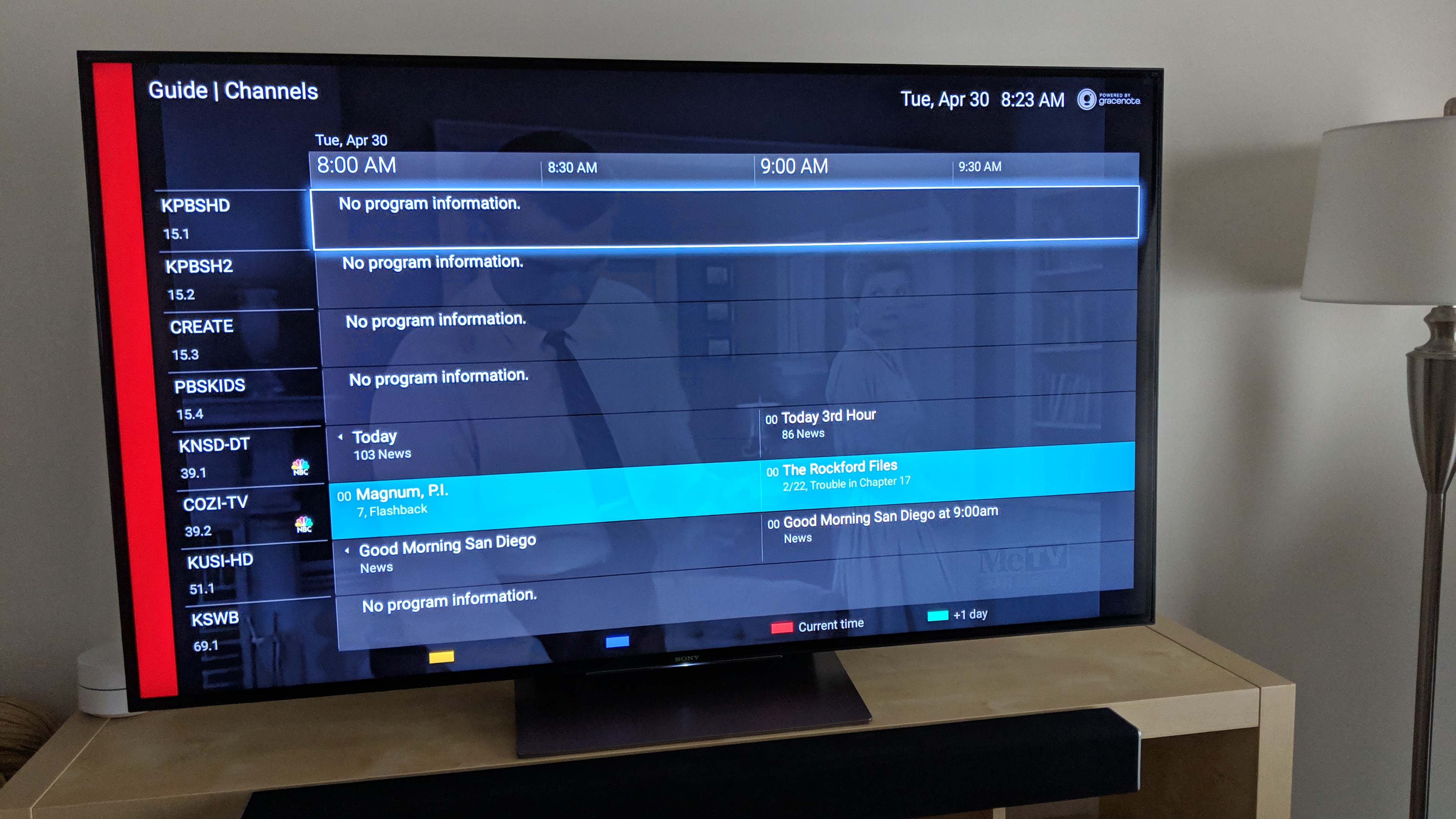 Android tv OTA program guide not being populated for