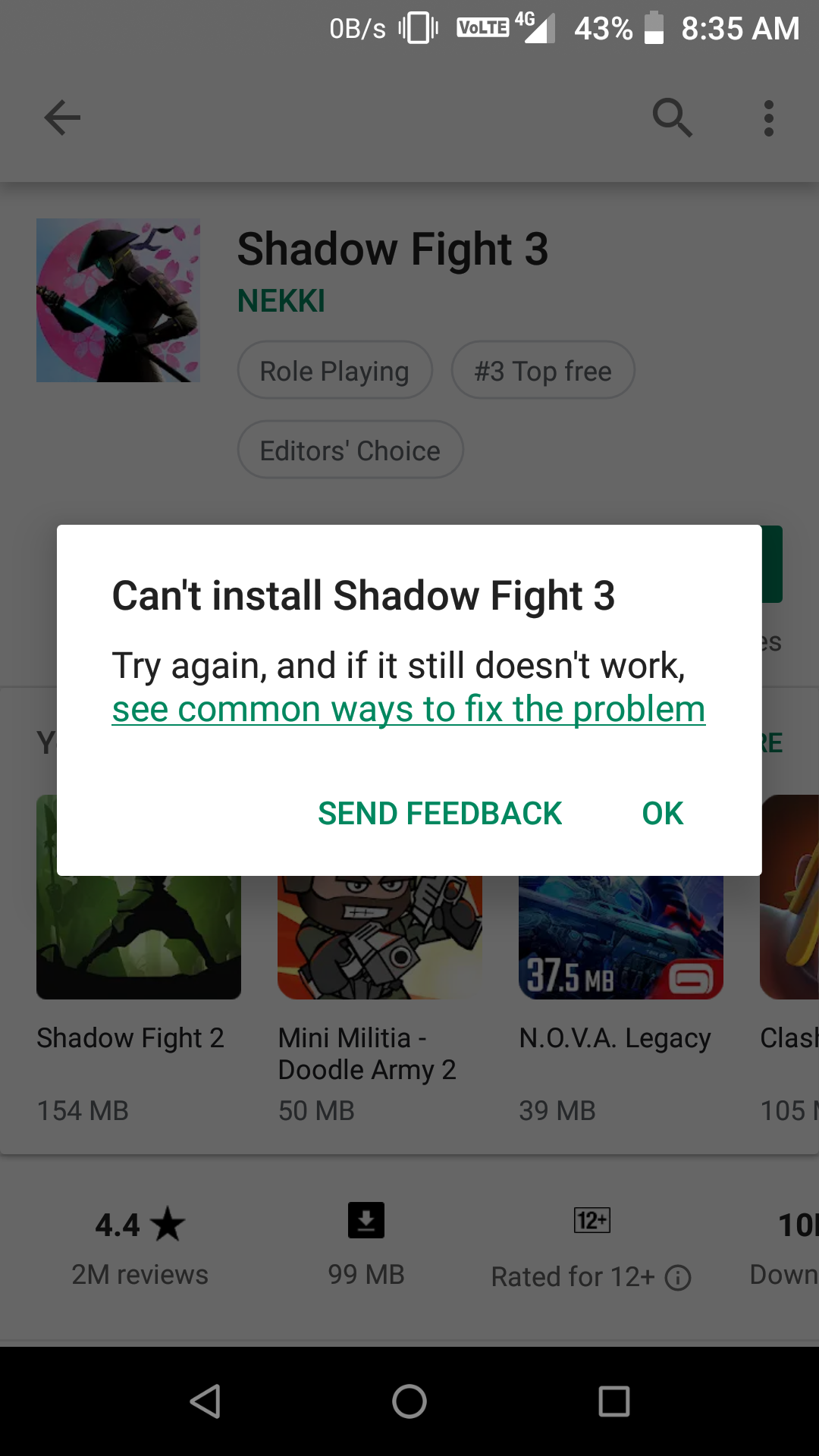 Can't install shadow fight 3 - Google Play Help