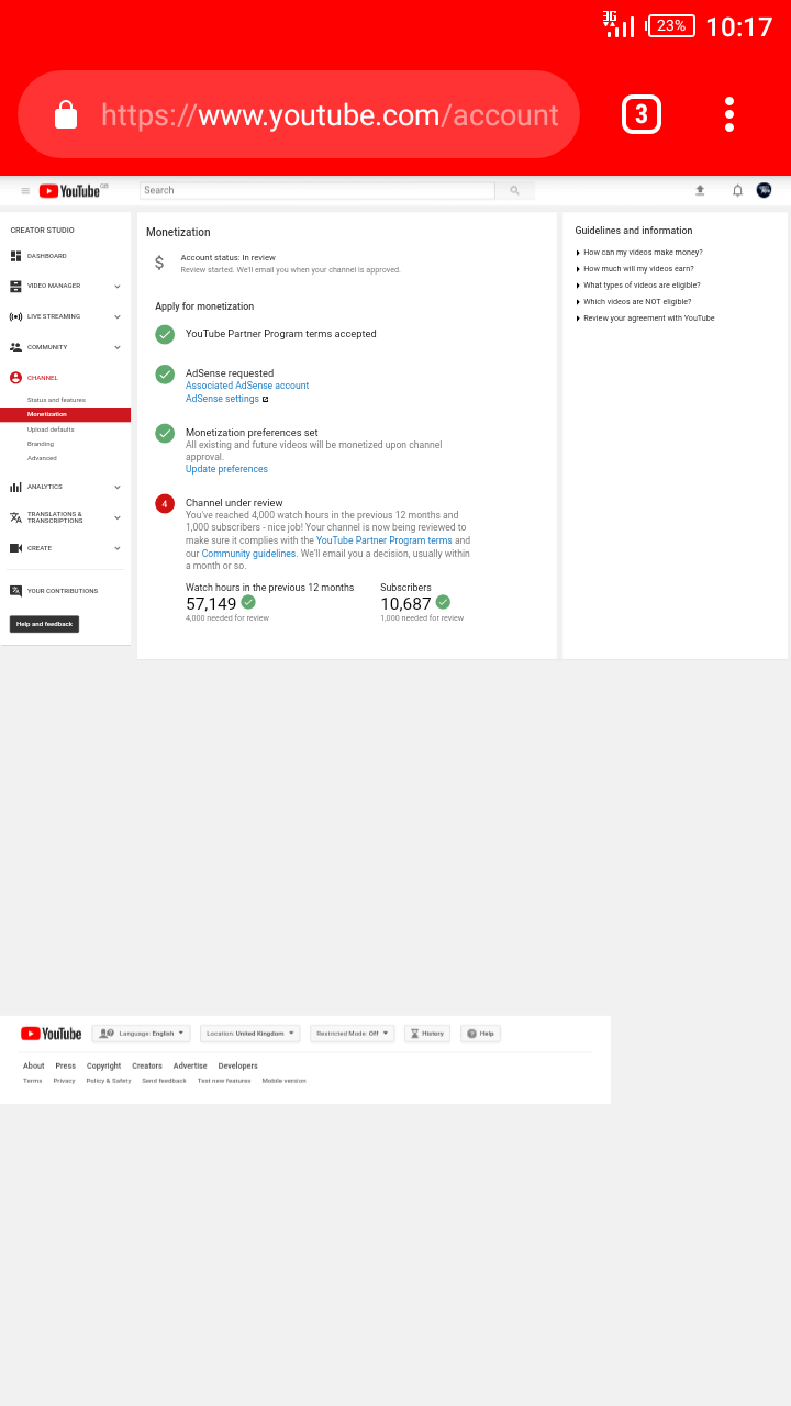 My youtube channel still under review not approved for monetization