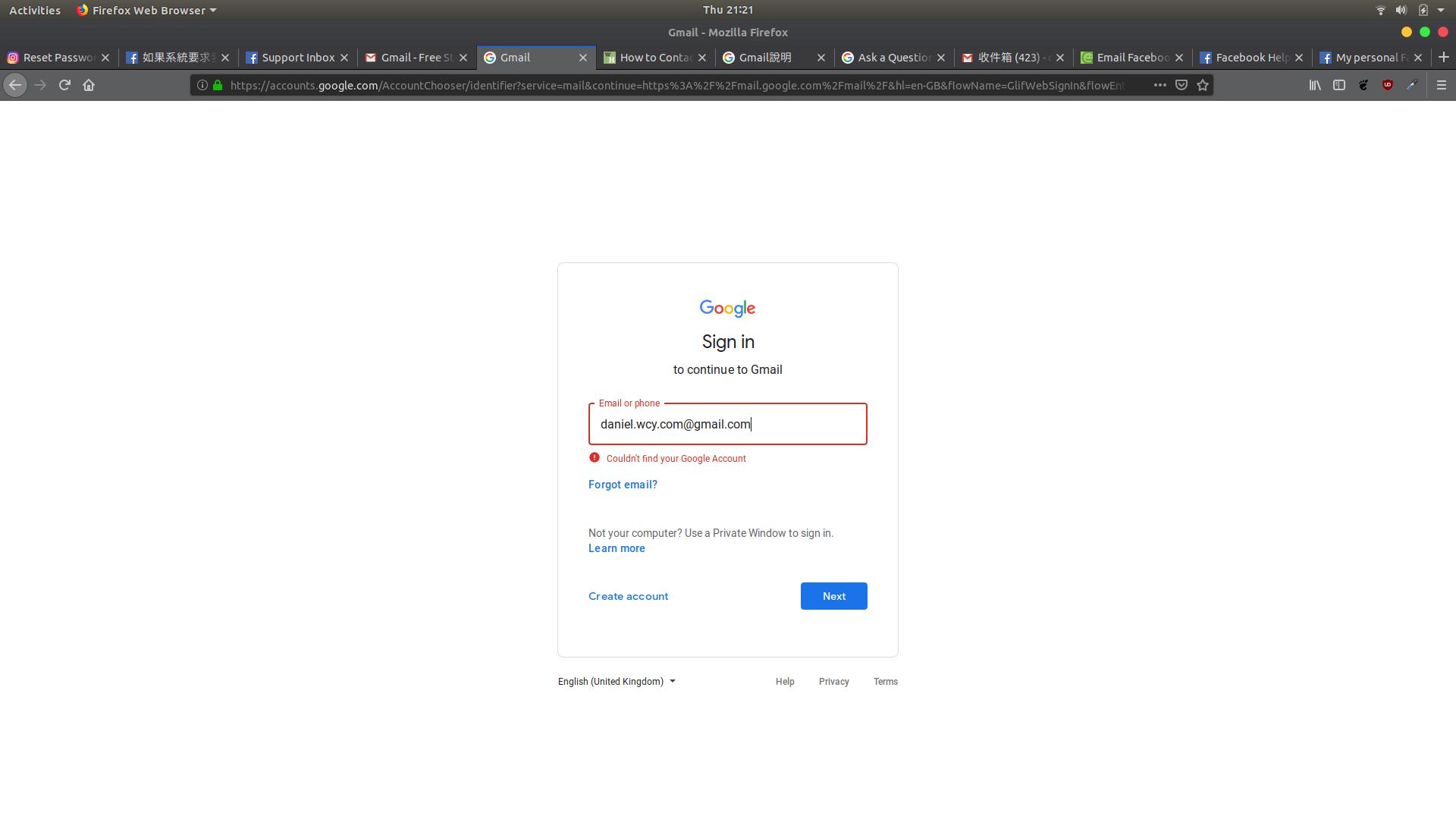 Login problem: No such account error message - Gmail Help