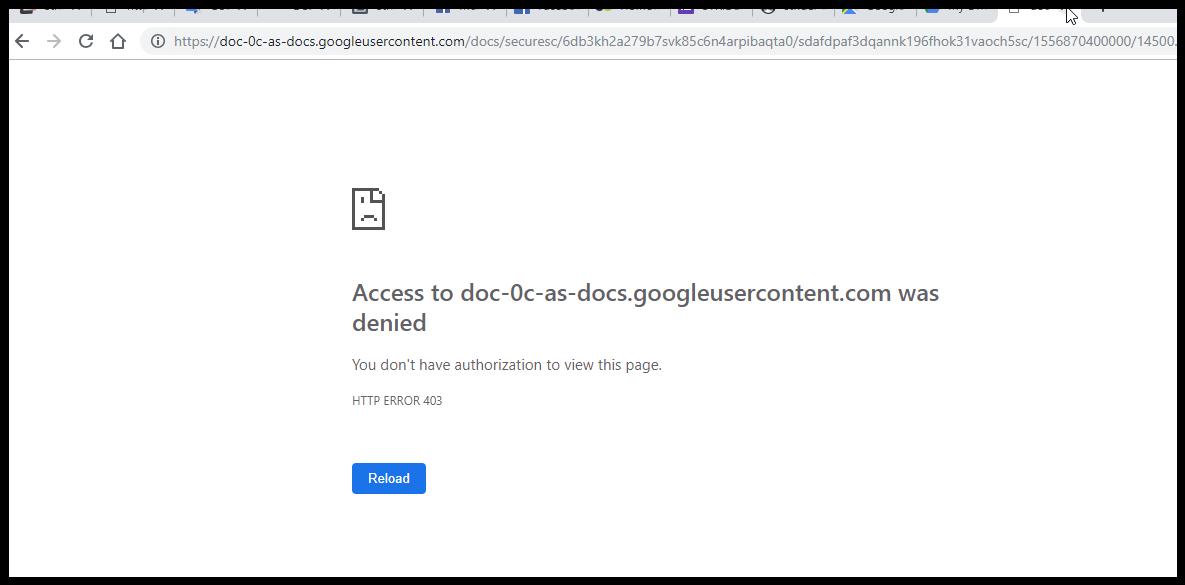 Access to doc-0c-as-docs googleusercontent com was denied
