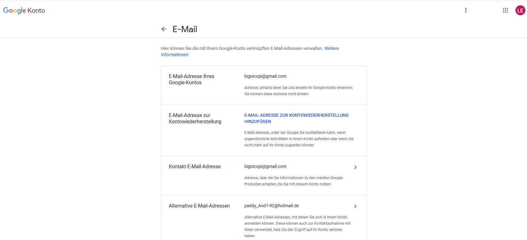 email adresse ändern gmail