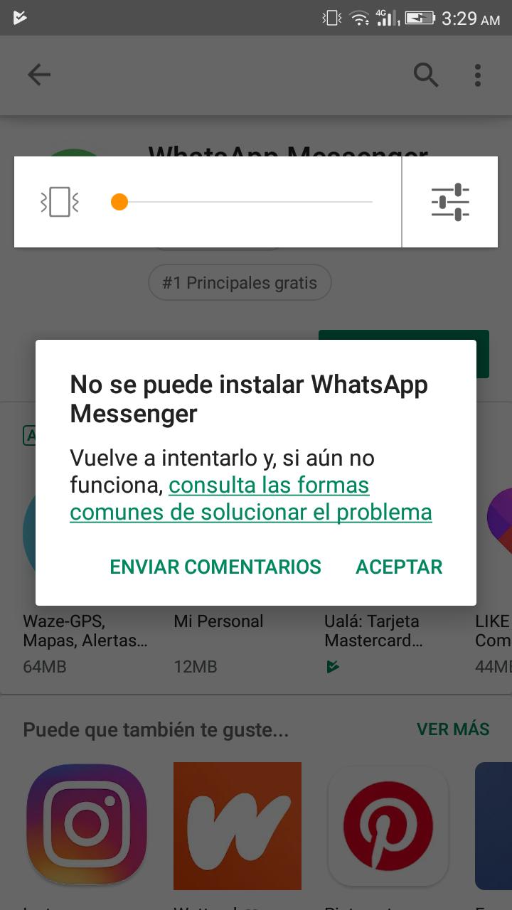 no puedo enviar ni descargar archivos de whatsapp