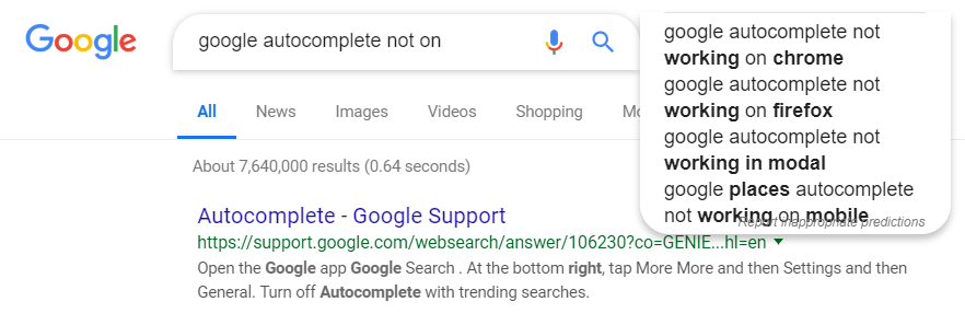 autocomplete not on the right position - Google Chrome Help