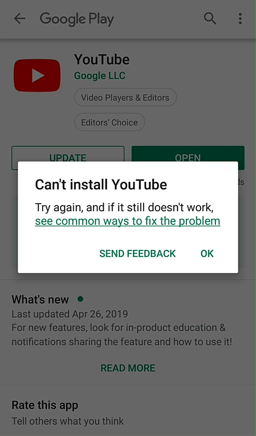 I con't instal youtube in my phone ( phone name:- coolpad