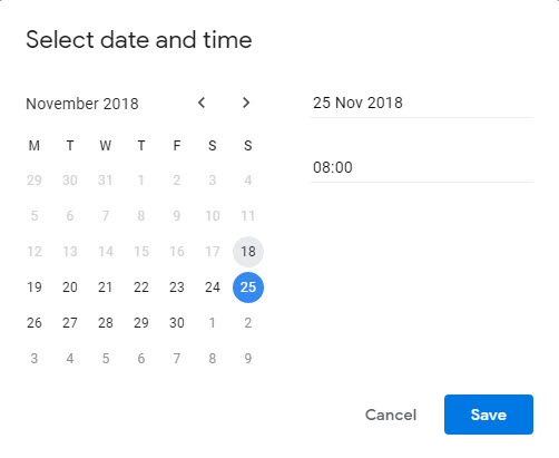 Time And Date Calendar Snooze 'select date and time' calendar starts on wrong day of the