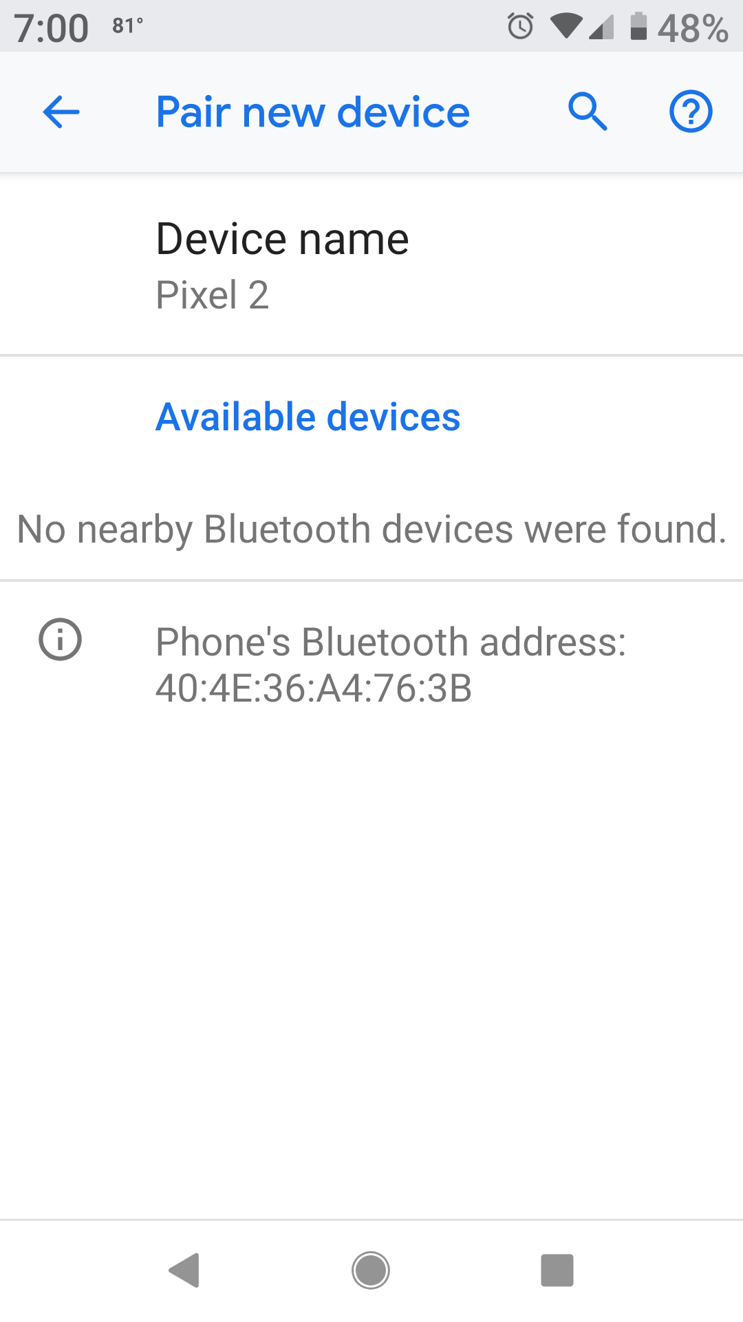 Adding New Bluetooth Device Error No Available Devices Nearby Pixel Phone Community