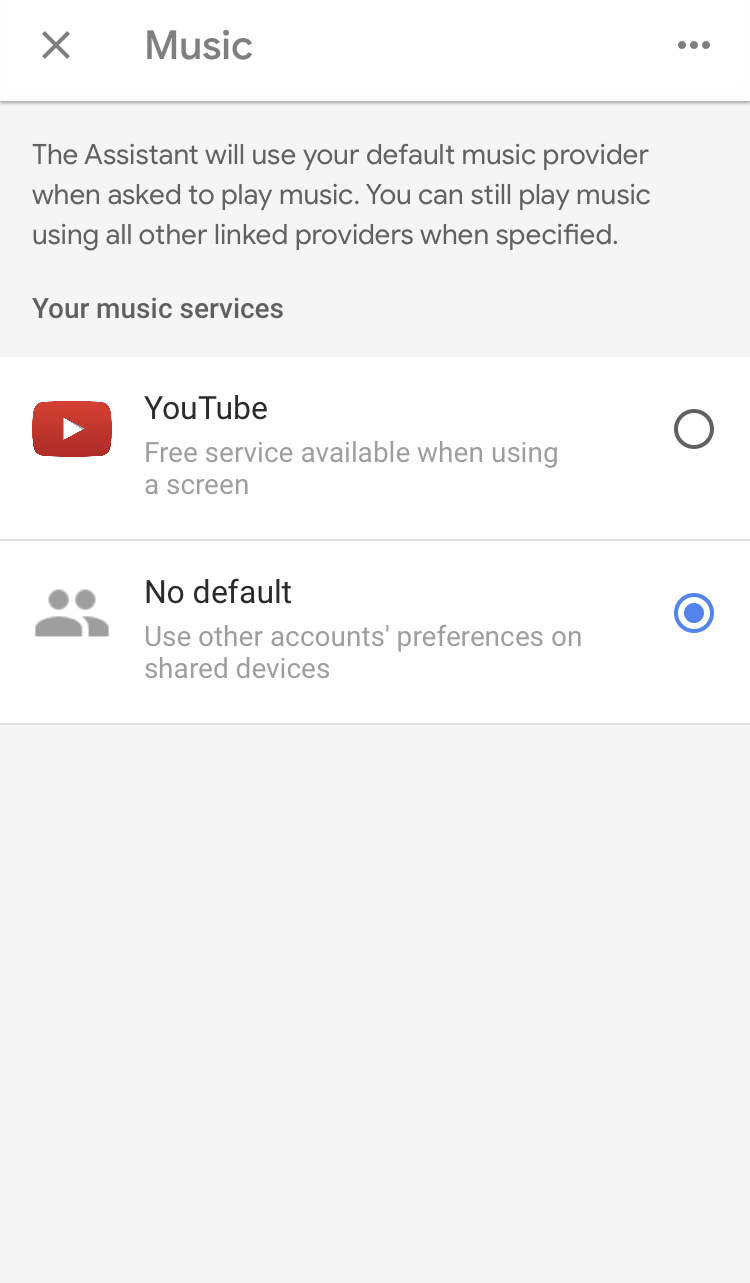 Where is the link option within music services? - Google