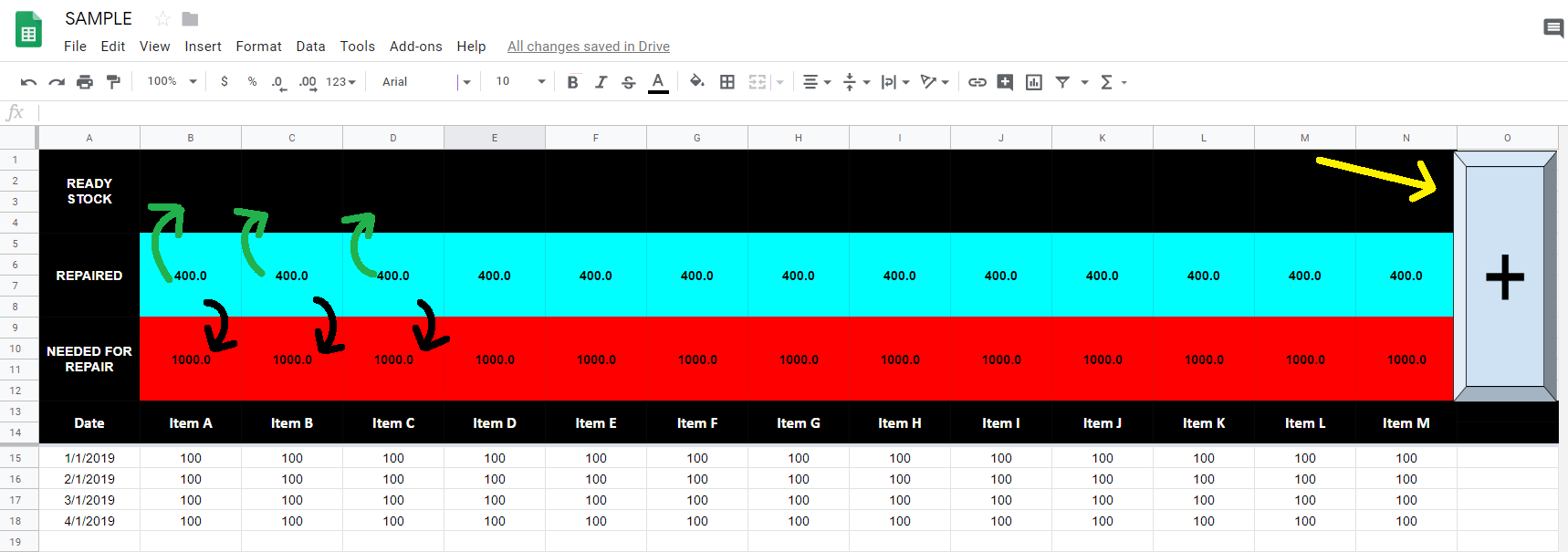 Google Spreadsheet script to Add value from Cell A to Cell B