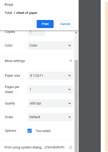 Printing double sided and flipping on short edge in Google