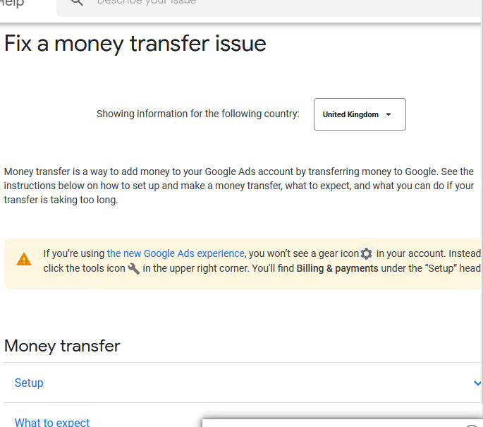 Money Transfer Option Not Earing In