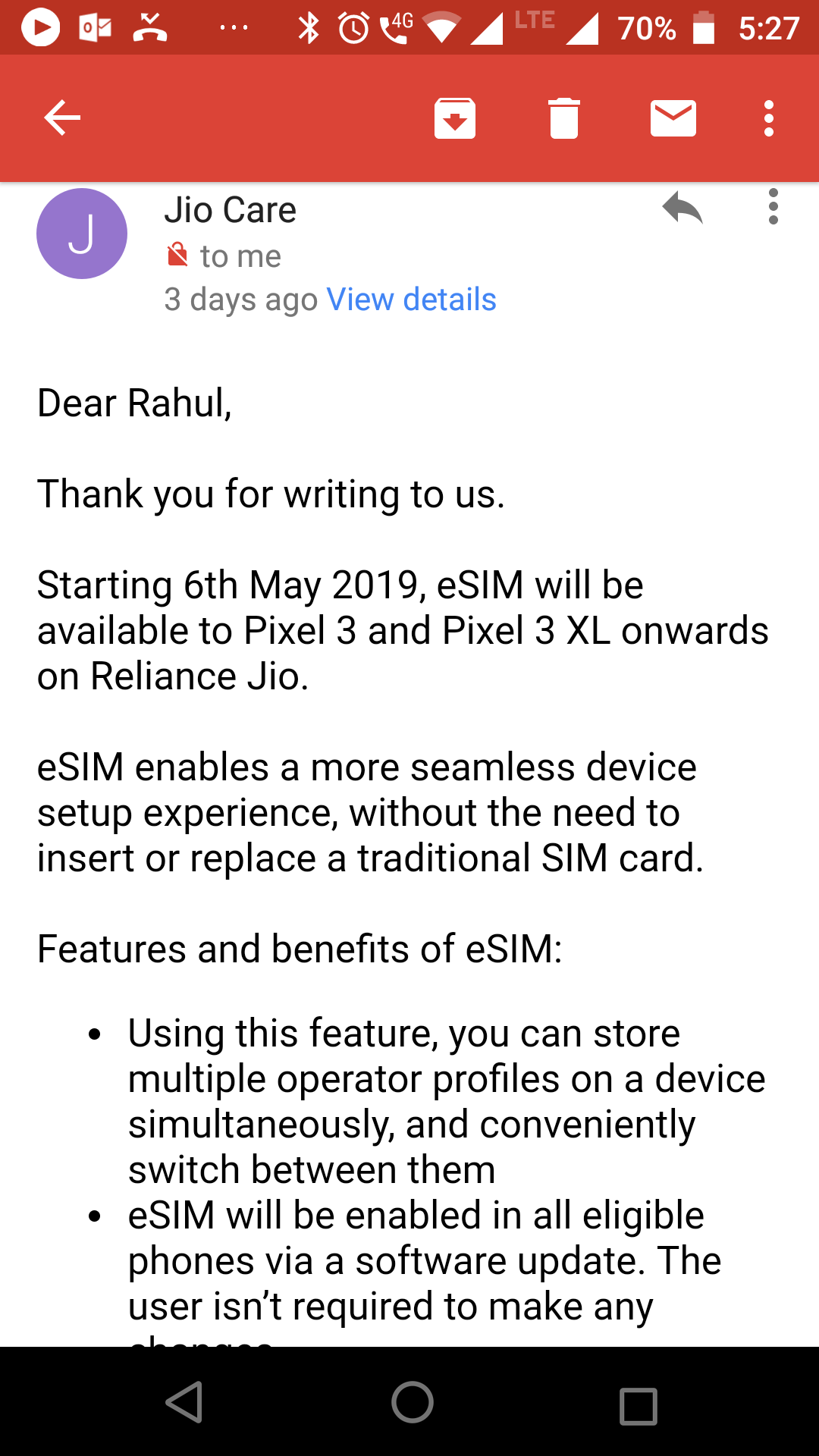 Please let me know carriers in India supporting esim for