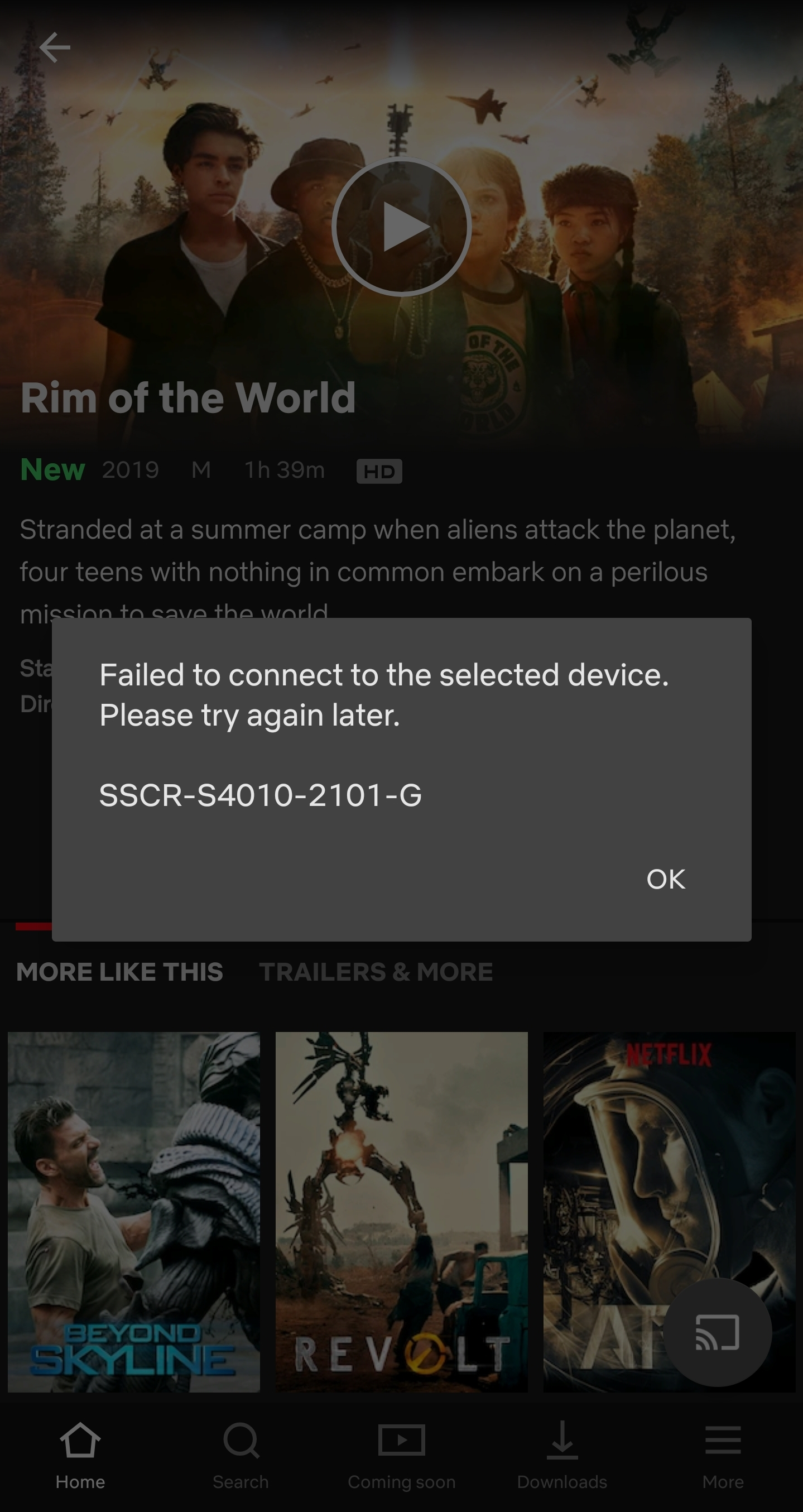 How to solve this error message when trying to cast Netflix