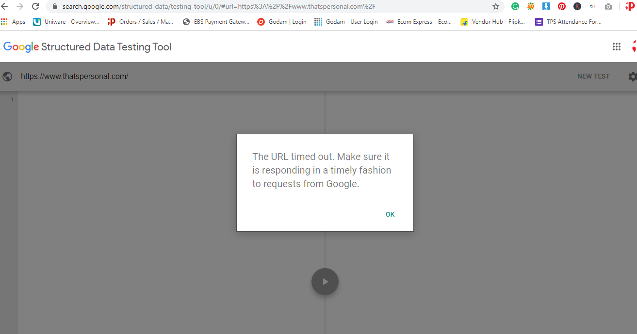 structured Data Testing Error - The URL timed out  Make sure it is