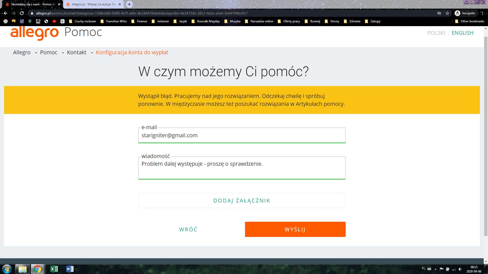 Problem Z Allegro Tylko Z Google Chrome Nie Laduje Sie Saldo Konta Nie Mozna Wysylac Pytan Itd Google Chrome Community
