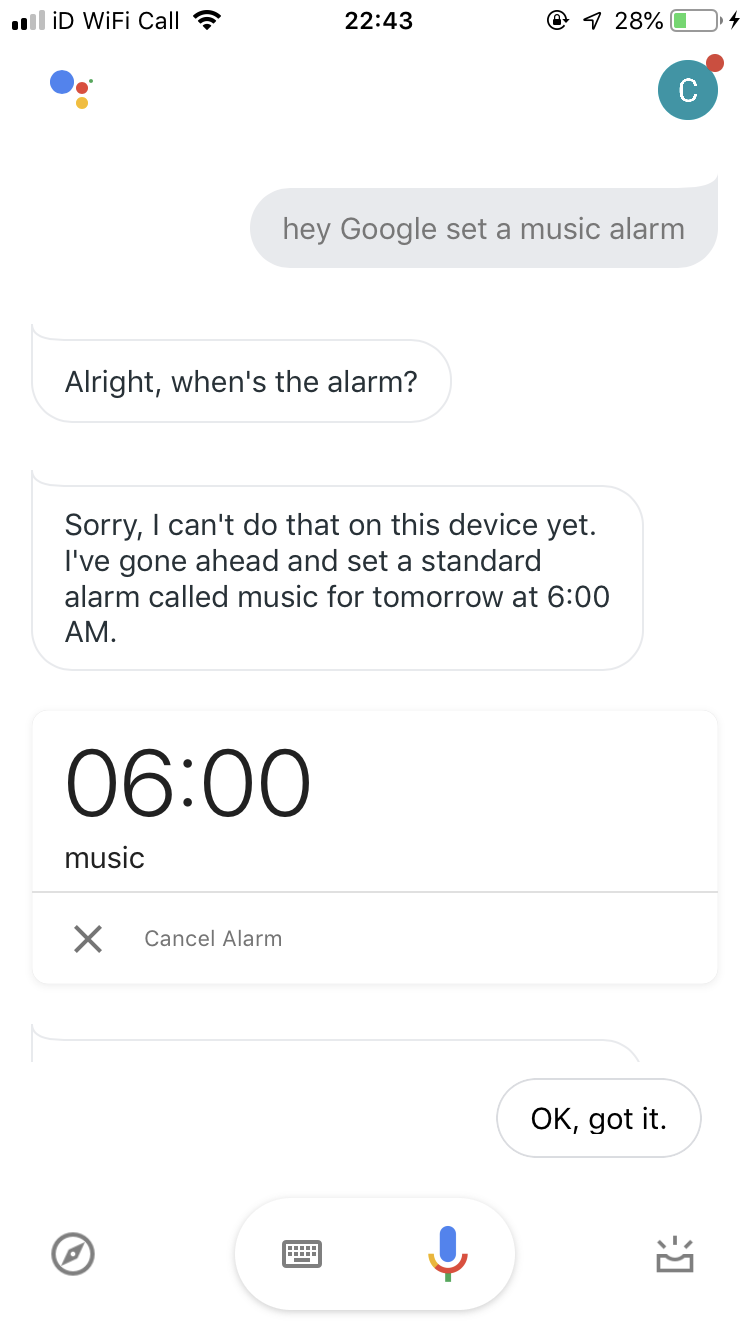 My google home isn't allowing me to set a music alarm anymore  Help