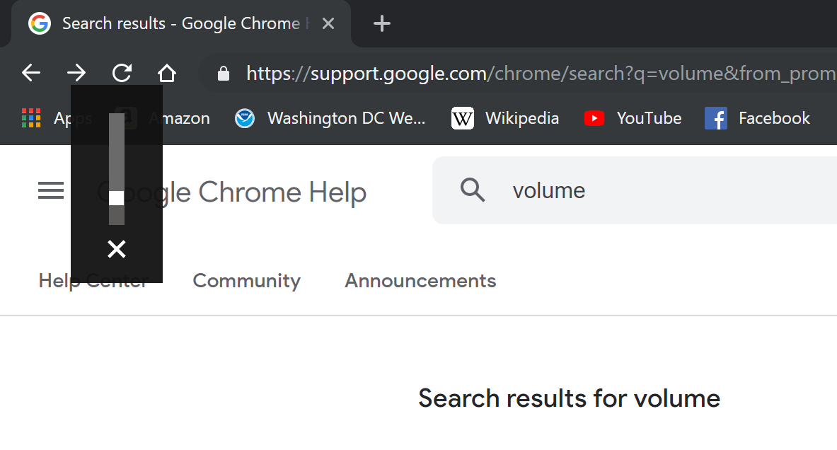 When watching a video and change volume, a 'chrome exe' box is