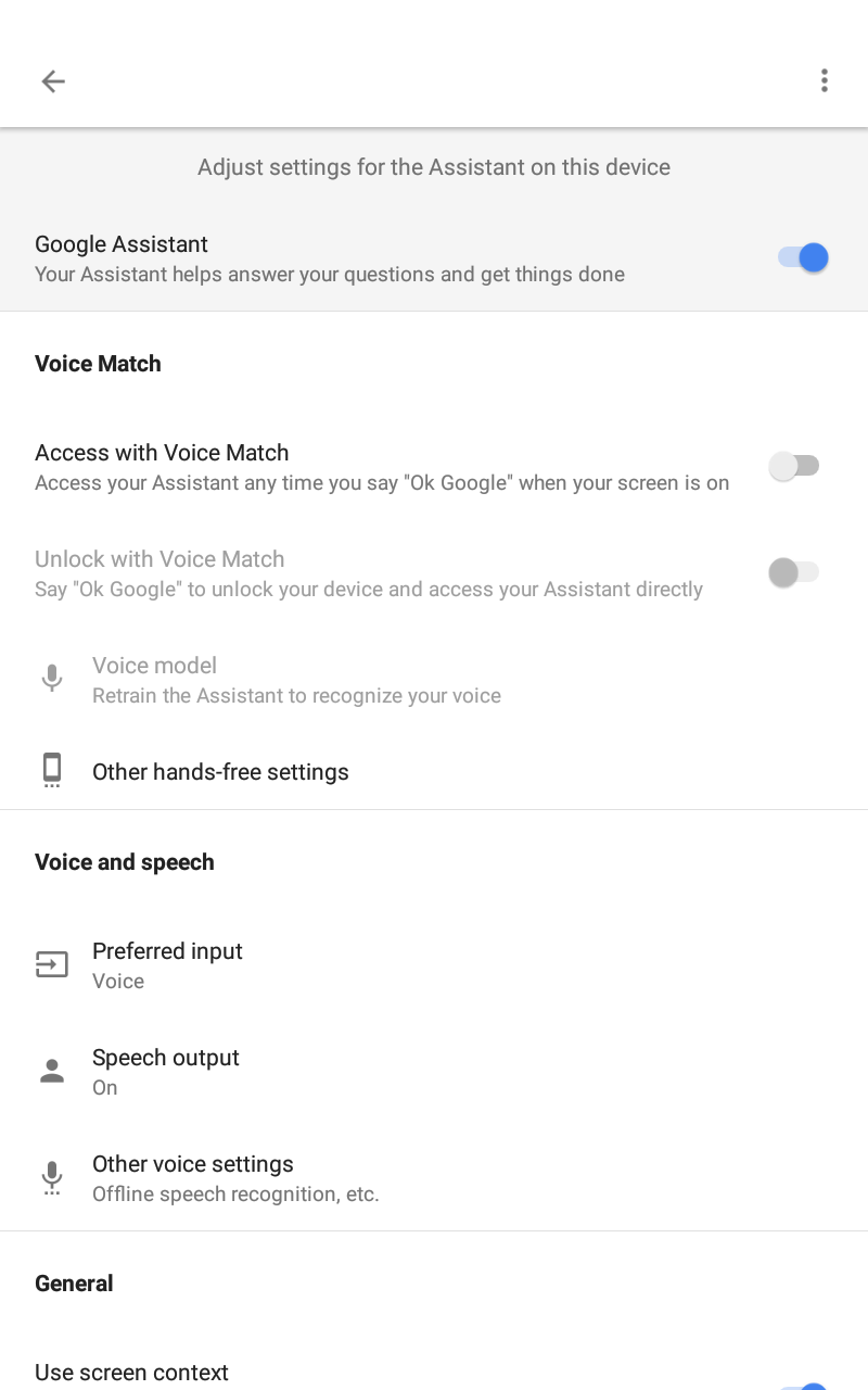 I'm unable to activate voice match, ok google hotword not working