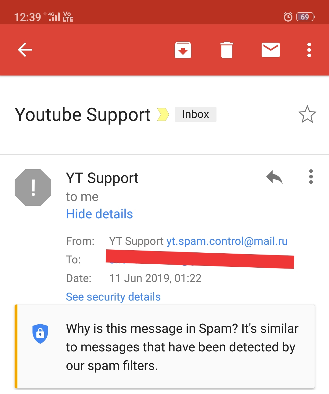Tell Me Its Fake Or Real Email From Youtube For Spam Videos