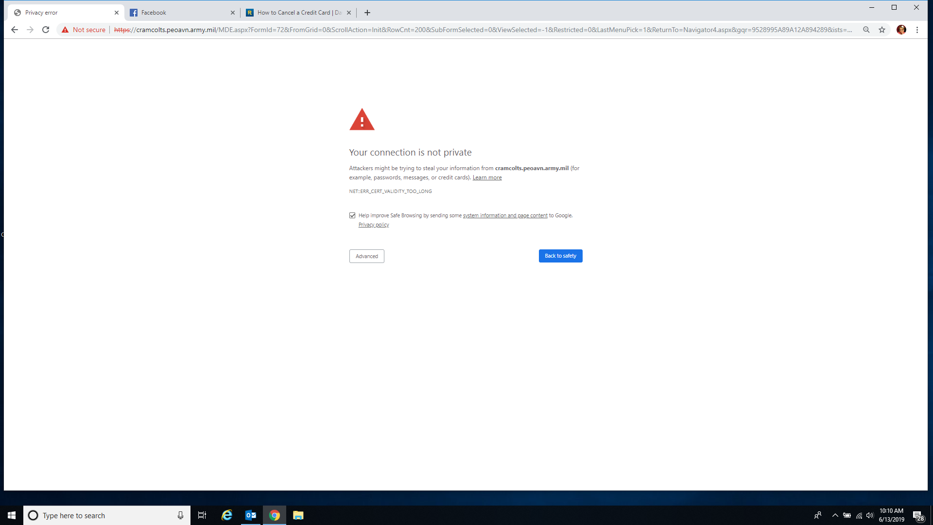 You're connection is not private. - Google Chrome Community
