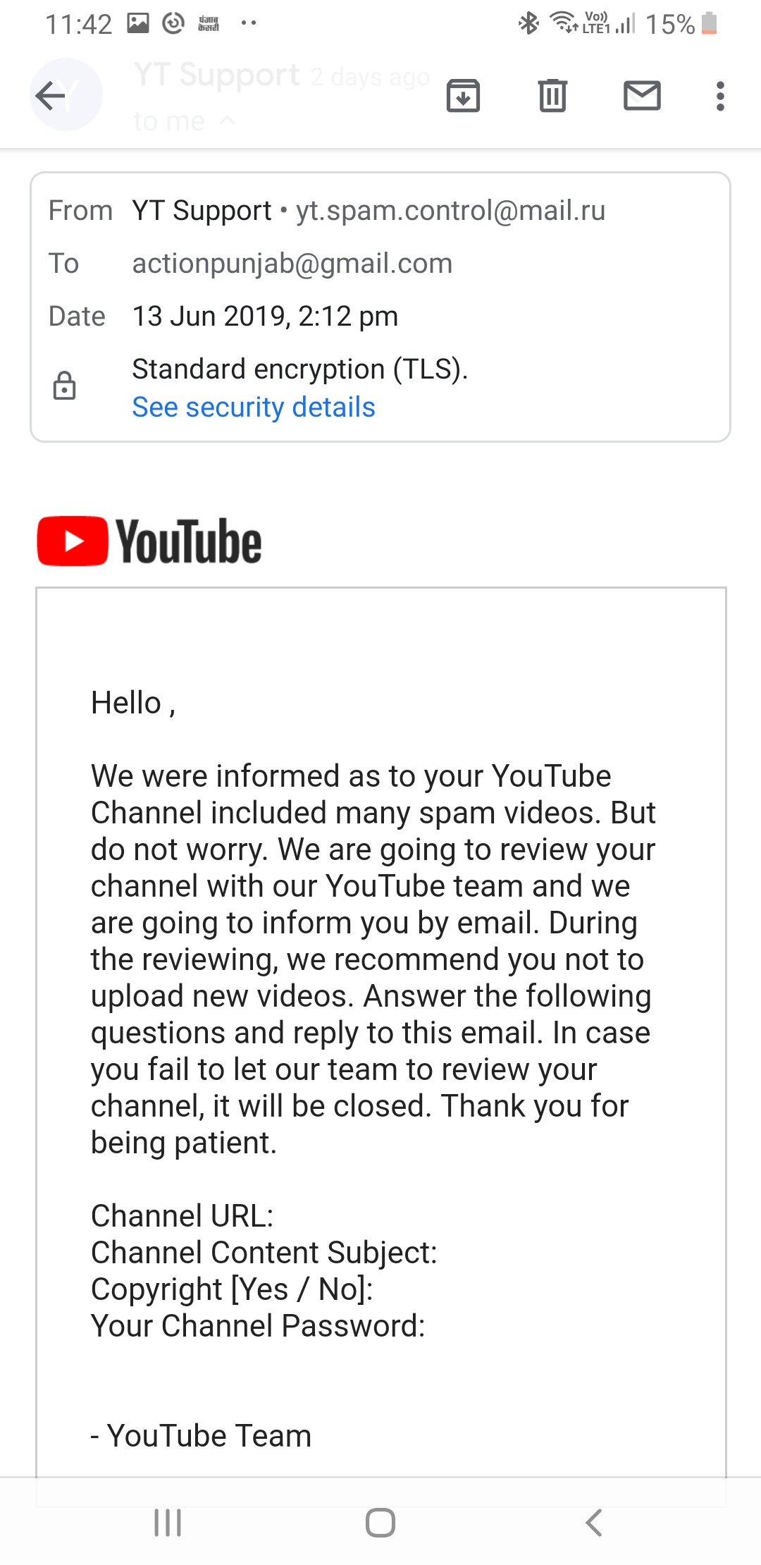 Hello youtube  Sir/mam My youtube channel hacked and hacker transfer