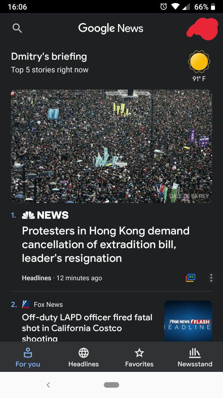 White navigation bar in Dark Theme - Google News Help
