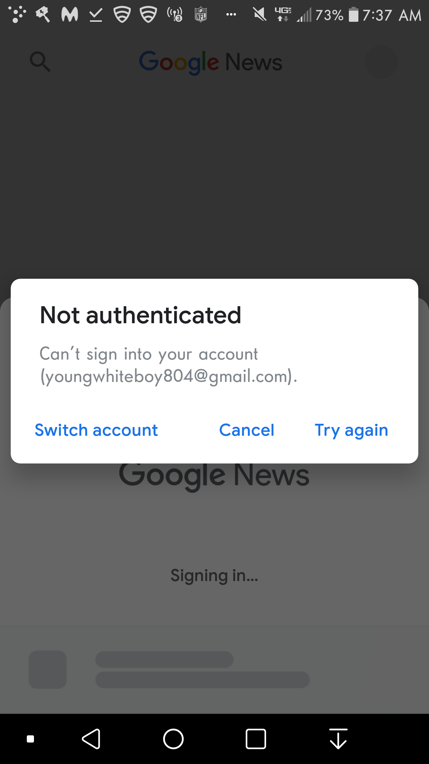 I can't sign in Google News Android App  It can't authenticate my