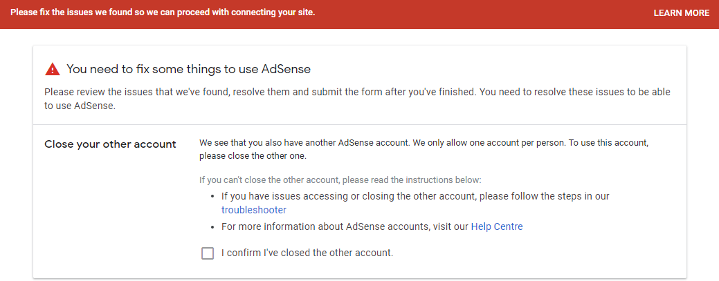 Old AdSense Account Cancelled, Still