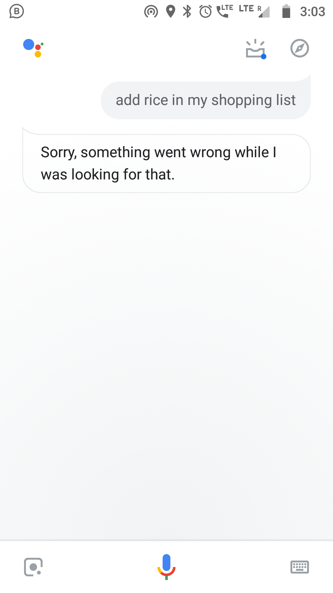 Unable to make a Shopping list - Google Assistant Help