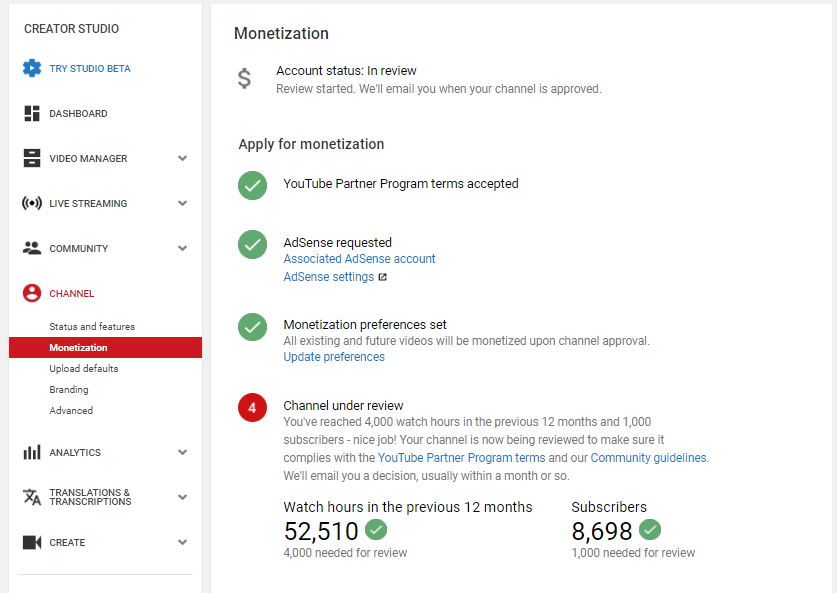 17600ba9cf ... last month for approve my monetization . but my channel is still under  review after changing my thumbnails so please check my channel and approve  my ...
