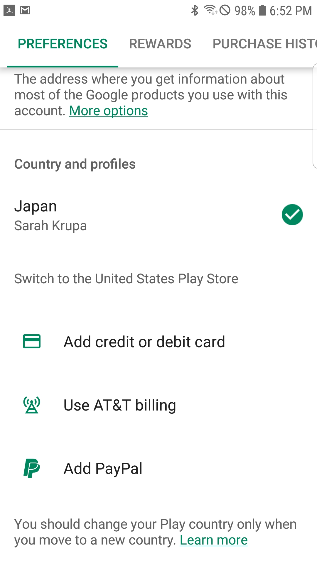 Switch to the United States grayed out after