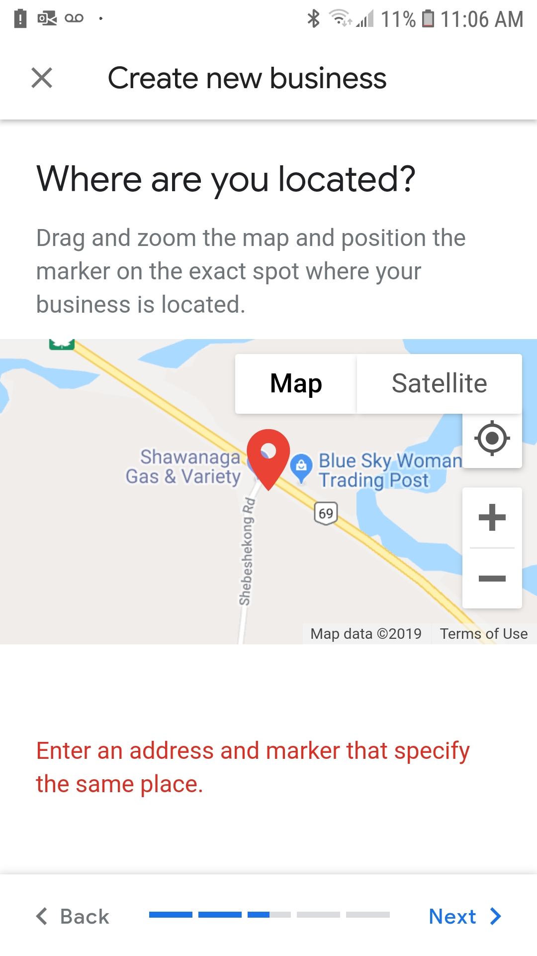 Place Locator Map I cant seem to claim my business. Installed the business app. It