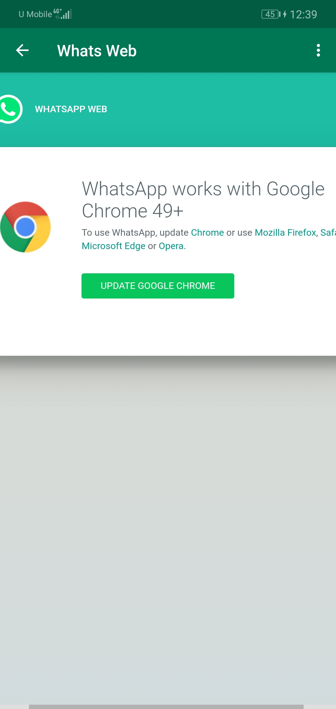 Whats meaning whatsapp work with google chrome 49+