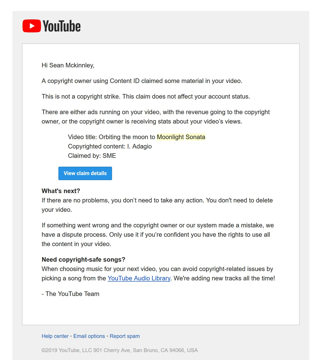 Copyright Claim On Song From Youtube S Free Audio Library Youtube Community