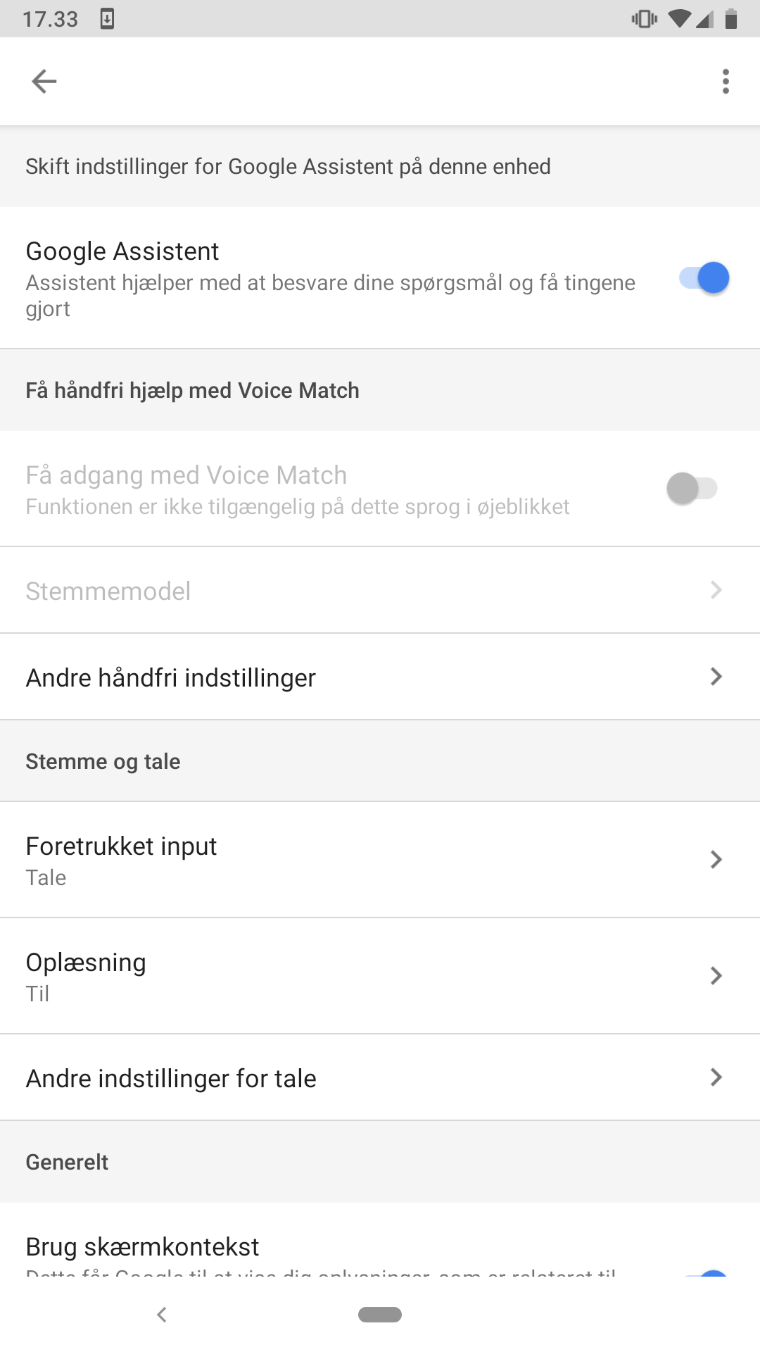 Voice match is greyed out - Google Assistant Help