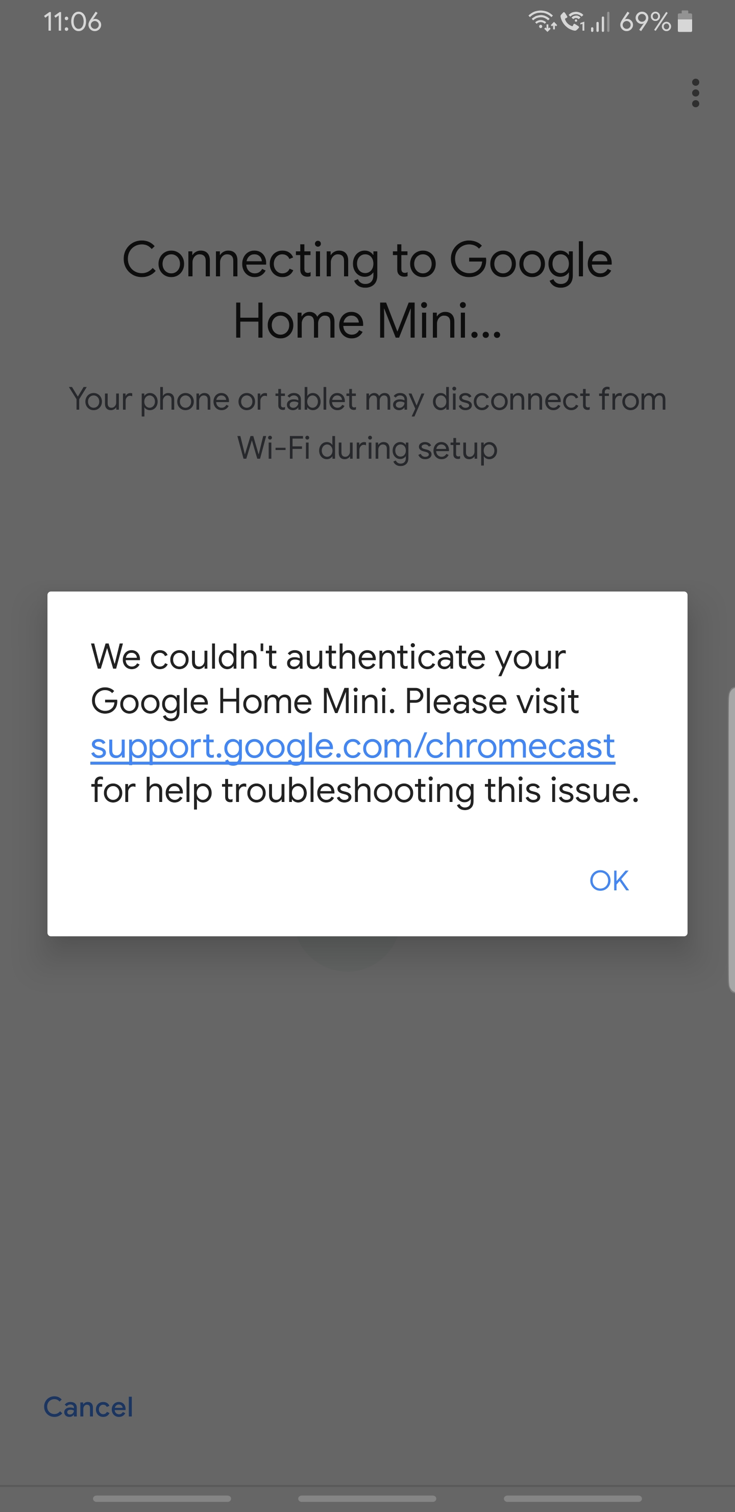 Unable to connect my Google Home Mini with a Samsung Galaxy