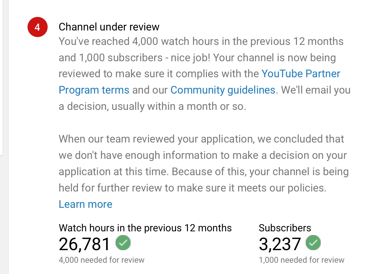 I need help my channel has 26,781 watch hours & I have 3,237