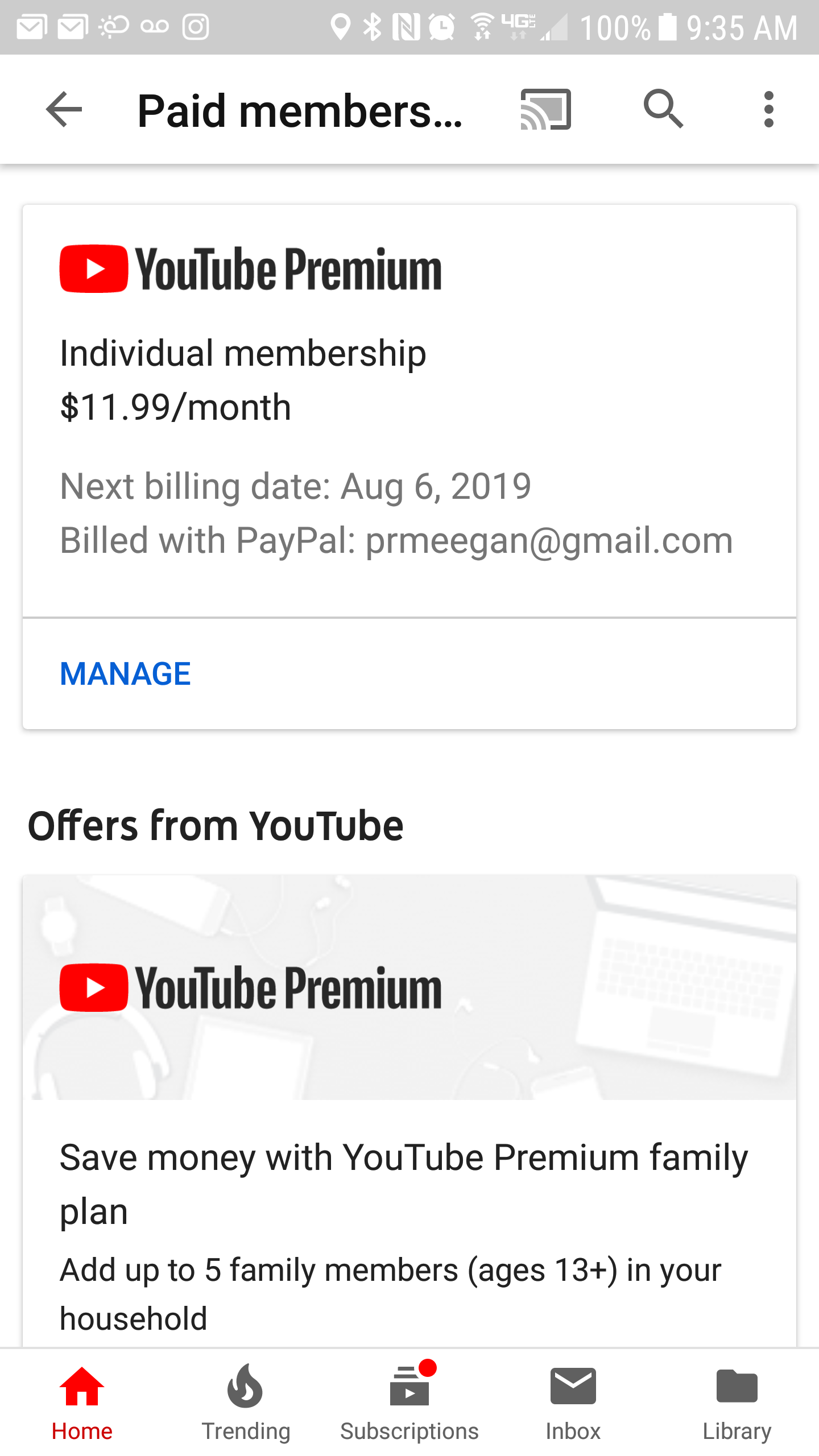 I somehow got charged for the Premium Service, which I didn
