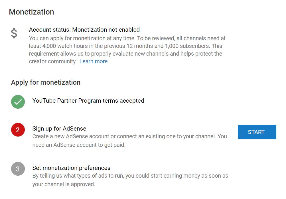 Monetisation on Youtube