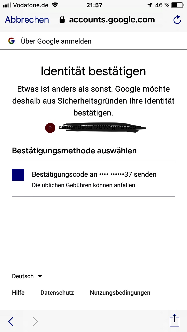 Bestätigen nicht kann google identität falsche (unbestätigte)