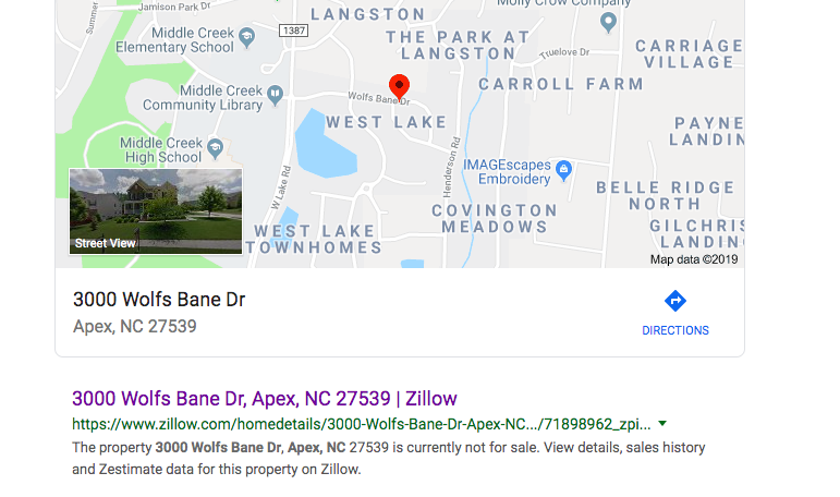 home appearing not for sale when you type address in
