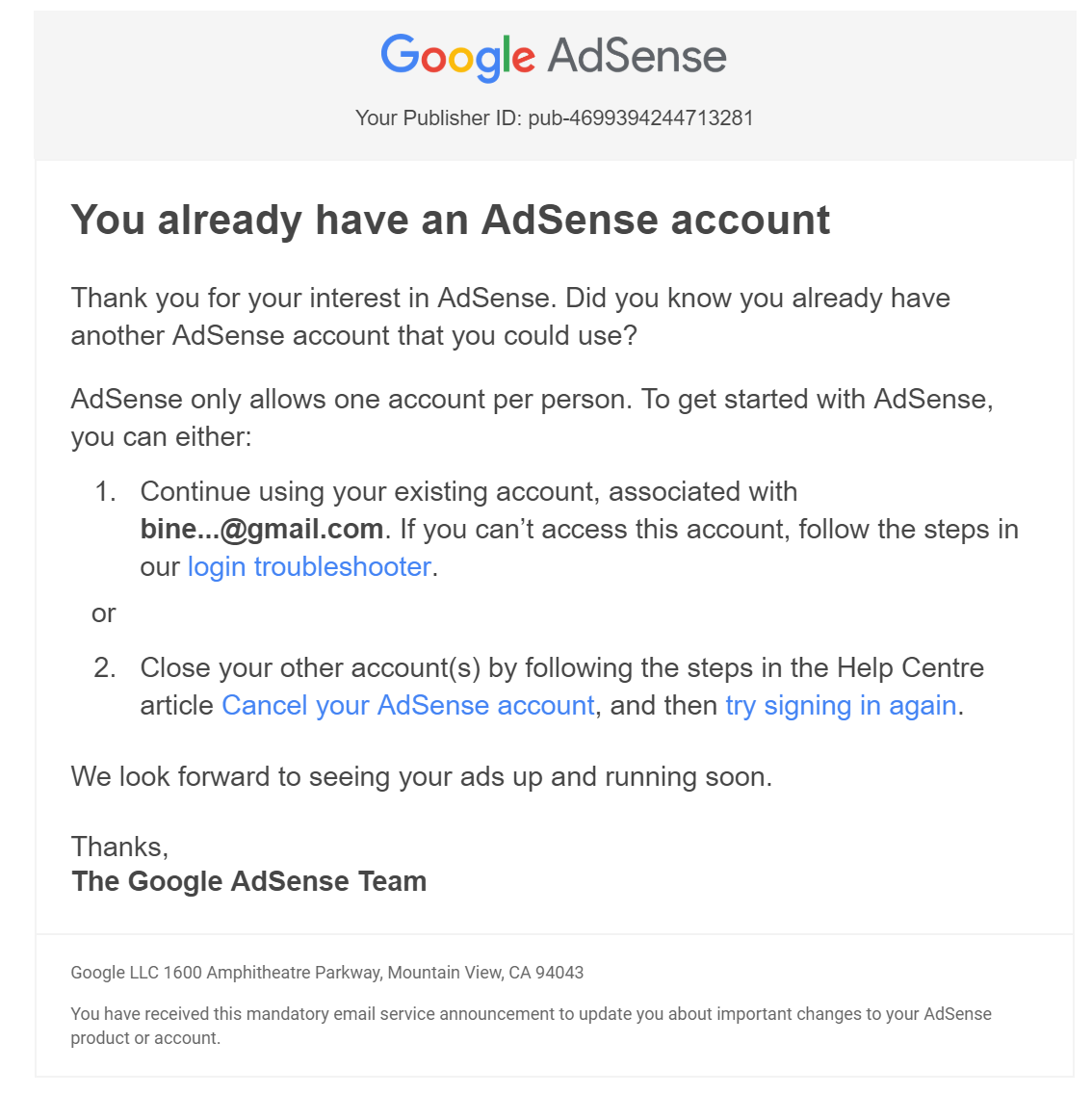 Why I am unable to cancel my AdSense account permanently