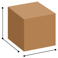 An illustration of a box showing shipping dimensions like height, length, and width